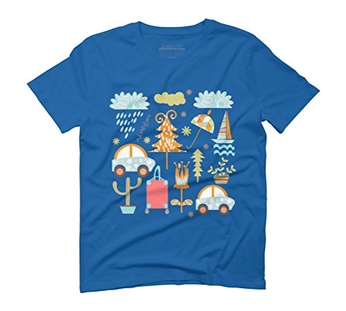 Travel pattern 3 Men's Graphic T-Shirt - Design By Humans Royal Blue