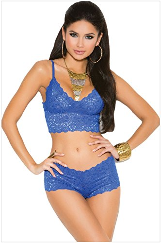 meinice Blu Stretch pizzo Bralette lingerie set Blue