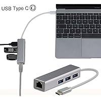 Broonel London - Adaptateur USB Type C Ethernet et USB 3.0 pour le Carte Mémoire Compatible avec le Dell Latitude 5289 2-in-1 / Dell Latitude 5285 2-in-1 / Dell Latitude 5480 / Dell Latitude 7280