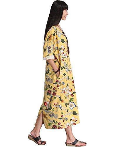 Youlee Damen V-Ausschnitt Blumenmuster Kleid Mit Taschen Gelb