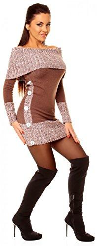 Zeta Ville - Damen Pullover aus Grobstrick Carmen-Ausschnitt Strick-kleid - 913z Cappuccino