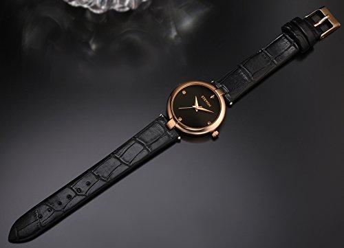 ETEVON Women's Casual Crystal Quartz Leather Watch mit schwarzem Zifferblatt und Rose Gold Edelstahl Case, einfach Kleid Handgelenk Uhren für Frauen Ladies - 6