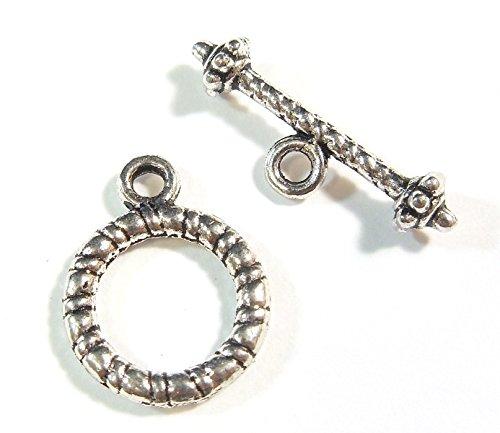 ebel Verschluss Metall Knebelverschluss Silber Verbinder 16 Teile Kettenverschluss Toggle T Bar Kettenverbindung Für Schmuck 13mm J110 (Knebel-verschlüsse)