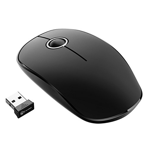Wireless Mouse, VicTsing 2.4G Slim Noiseless USB Laptop PC Computer Cordless Mouse with Nano Receiver with Extra Long Range for Windows Mac Linux Vista Macbook, Super Energy Saving, Black+Silver
