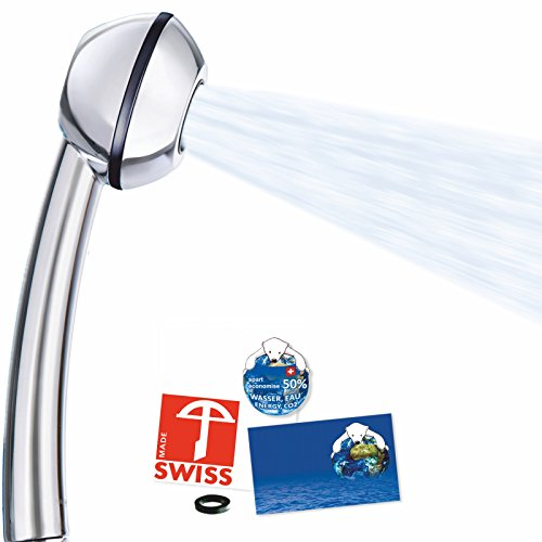 Preisvergleich Produktbild Duschkopf AquaClic Black Power WOW! Mehr Power, auch bei schwachem Wasserdruck! Handbrause ideal für Durchlauferhitzer oder Altbauten, verkalkungsfrei, direkt vom Schweizer Hersteller (ohne Softspray, ohne Zusatzregler)