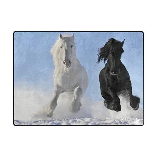 AHOMY Teppich, 150 x 200 cm, rutschfest, modernes Pferde-Laufteppich für Wohnzimmer/Baby/Haustierzimmer/Schlafzimmer/Esszimmer/Küche, Textil, Multi, 150x200 cm (5'x7' ft) -