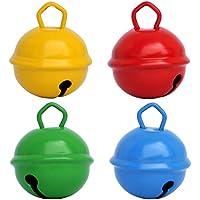 Grelots clochettes Jaune Rouge Vert Bleu (4X 25mm) Beau son Grelots couleurs géants gros 35mm 20mm… pour Montessori enfants bebe instrument Noel anniversaire chat chien décorations loisirs créatifs