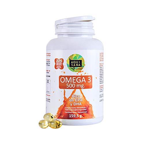 Omega 3 rico en EPA y DHA para contribuir a una mejor circulación y unos niveles saludables de colesterol – Ácidos grasos esenciales para ayudar a nuestro organismo – 225 cápsulas
