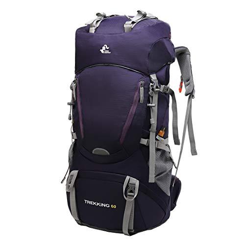 JOTHIN Wanderrucksack Herren Trekkingrucksack Groß Reiserucksack Nylon Wasserdicht Tagesrucksack Outdoor Bergsteigen Backpack mit Regenschutz für Camping Klettern (60L) (Lila)