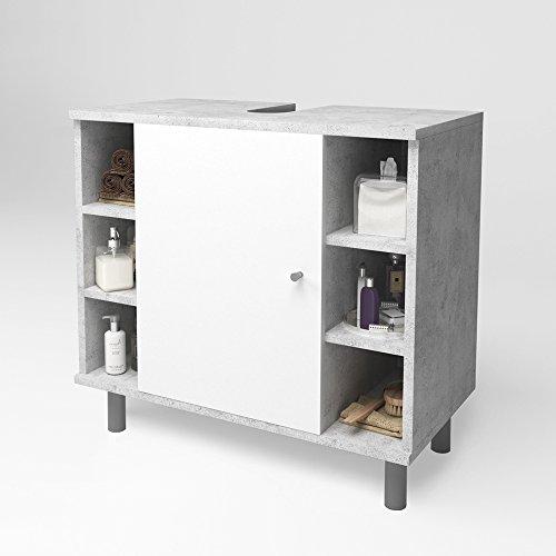 Ein Bad Mit Milch (Waschtischunterschrank Badschrank Badezimmerschrank Waschbeckenunterschrank Unterstellschrank Beton/Weiß)