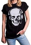 MAKAYA Damen Shirt Totenkopf - Rockiges Skull Top mit Kopfhörern - Oversize weit geschnitten Übergrößen schwarz große Größen XXL