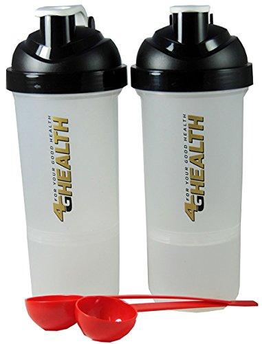 Eiweißshaker schwarz + Pulverfach Doppelpack 4G Health Eiweiß Shaker Schwarz-gold + 2 Dosierlöffel im Set als Eiweißshaker - Mixer - Cocktailshaker (600ml+200ml)