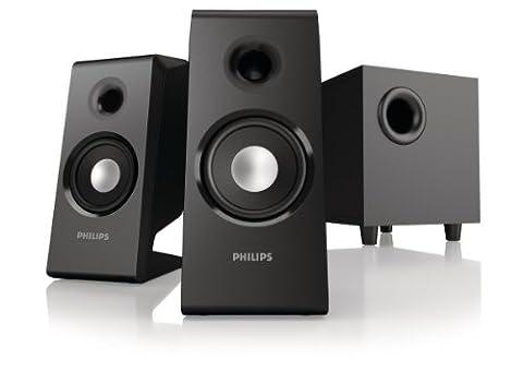 Philips SPA2335 Enceintes multimédia avec haut-parleur amorti, compatible tous supports, 28 Watts RMS,