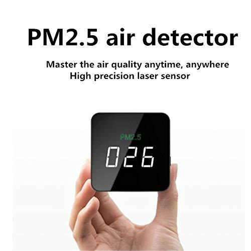 Luftqualitätsprüfgerät, PM2.5 Display Detektor Tragbarer Luftqualitätsmonitor Hochpräzisionsprüfgerät PM 2.5 Smog Staubmessgerät Mini Taschenformat Für Heimauto Außenerkennungs-LED-Anzeige Schwarz -