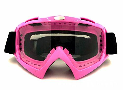 La moto le ski de fond,lunettes de sport fort rose + transparence