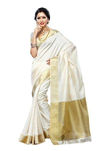 Mimosa Tassar Silk Saree (2086-Hwht_Half White)  available at amazon for Rs.1099