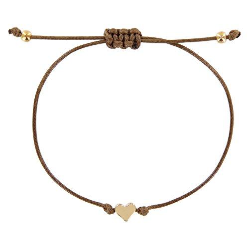 StarAppeal Herz Freundschaftsarmband, Armband mit Perlen in Silber und Gold mit hochwertiger Wachsschnur gefertigt, Damen, Mädchen Armband (Toffee-Gold)
