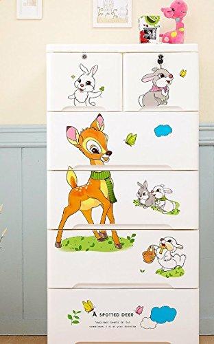 Cómoda infantil blanca bamby, para la habitacion de tu bebé con 4 cajones grandes y 2 pequeños, polipropileno , plástico, mueble baño, cajonera dormitorio niño, altura 131 cm