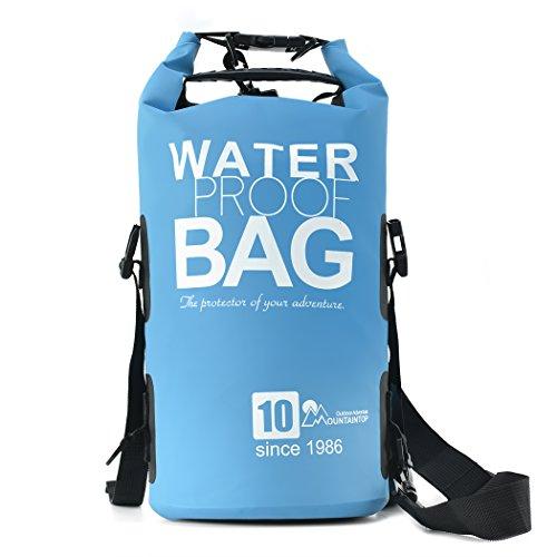 Mountaintop Trockentasche 10L - Wasserdichte Taschen, ideal für Bootfahren / Kajakfahren / Angeln / Rafting / Schwimmen / Schwimmende / Camping - Schützt Telefon / Kamera / Kleidung / Dokumente von Wasser, Sand, Staub und Schmutz