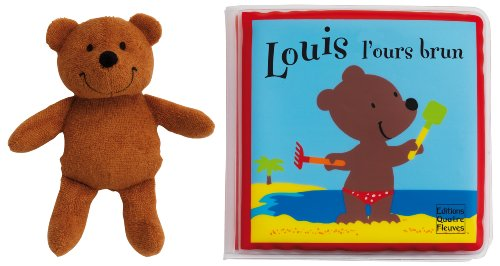 Louis l'ours brun : Livre de bain rempli d'air et personnage en éponge