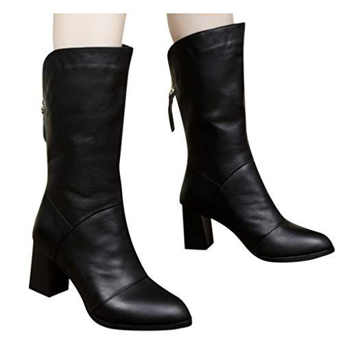 Abvenc Donna Stivali Lunghi con Tacco Alto Inverno, Boots in Pelle con Cerniera e Scarpe Velluto Casual a metà Collo per All'aperto (Nero, EU:35.5)