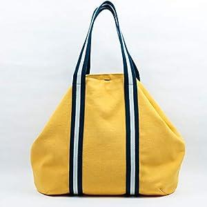 Maxi Handtasche Frau gelb und Marine Griffe, beige, für Wochenende, Strand, Einkaufen, in Baumwoll-Canvas und mit Innentaschen