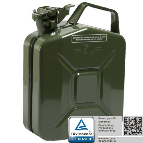 Oxid7® Benzinkanister Kraftstoffkanister Metall 5 Liter Olivgrün mit UN-Zulassung - TÜV Rheinland Zertifiziert - Bauart geprüft - für Benzin und Diesel