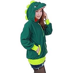 Mcdslrgo - Sudadera - para mujer dinosaurio verde M