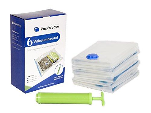Pack'n'Save 7 tlg Starterset Vakuumbeutel / Aufbewahrungsbeutel für Kleidung in verschiedenen Größen (klein, mittel, groß) inkl. Luftpumpe für Reisen (Zubehör Vakuumierer)