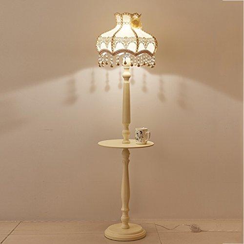 LILY Römisch Säule im europäischen Stil Elfenbein Weiß Tee Tischlampe, pastorale Massivholz Spitze Stoff Stehlampe, Wohnzimmer Schlafzimmer vertikale Lampe, H156cm