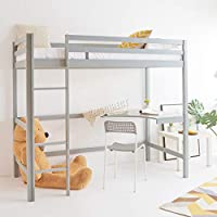 WestWood Childrens High Sleeper Cabin Wooden Frame Bunk Bed With Desk Kids Single 3FT Grey No Mattress New