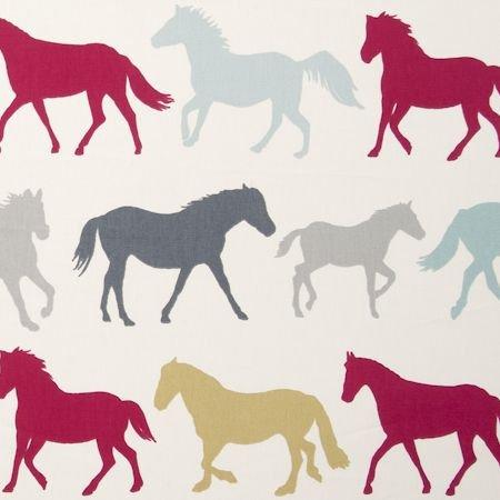 Stampede Horses Multi Cotton PVC Oilcloth Tablecloth 132cm x 200cm