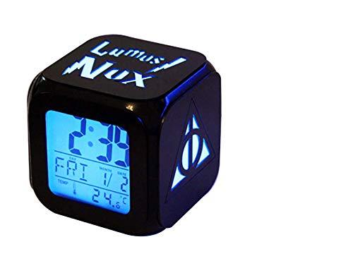 Big Free Tech Harry Potter LED Reloj Despertador 3D Colorido Luminoso Luz muda Noche Reloj Despertador Carga USB Tecnología Negra Reloj Despertador pequeño - Mejor Regalo,A