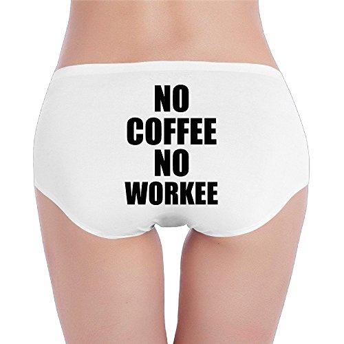 Sophie Warner kein Kaffee kein Workee Perfekte Passform Frauen Lady Mädchen Kostüme Mini Shorts Panty Hipster Slip Unterhose Set Baumwolle Gr. S, weiß (Bride Of Re Animator Kostüm)