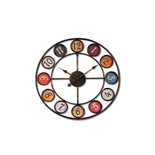 Yxmxxm orologio stile shabby chic in metallo stile retrò, orologio da appendere rotondo da 23,6