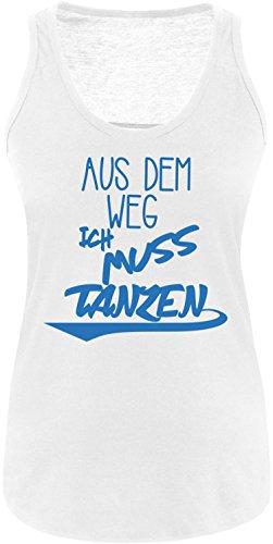 ezyshirt Aus dem Weg ich muss Tanzen Damen Tanktop Weiss/Blau