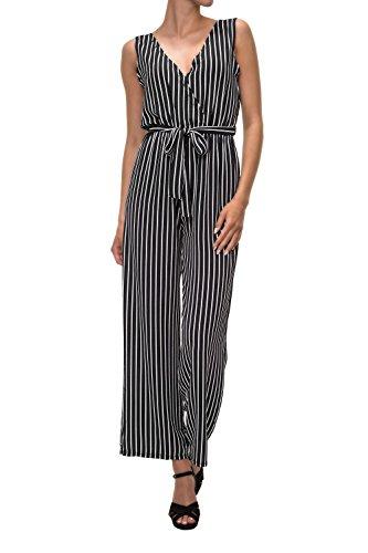 Hachiro Damen Jumpsuit Overall Einteiler Playsuit Ohne Arm Sommerhose (M, Black)