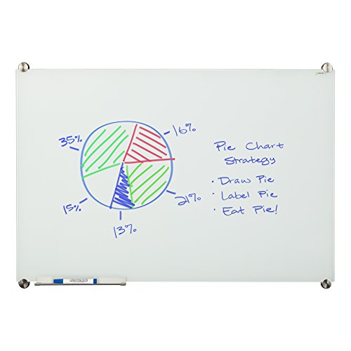 Learniture Glass Dry Erase Board w/ Marker Tray, Magnetic, 4' W x 3' H, White, LNT-MGB-3648-WH-SO (Corner 4')