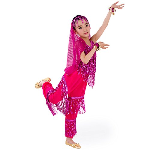 SymbolLife Petites filles Belly Dance costume, pantalon de harem + Halter Top Ensembles Rose