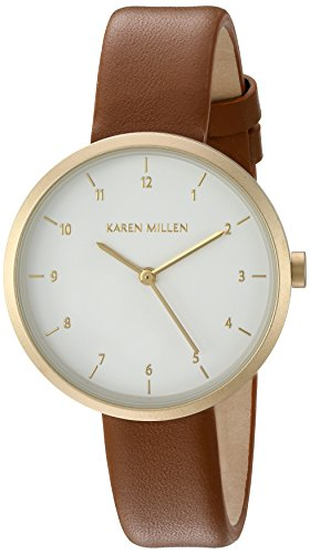 Karen Millen Women's Quartz Watch with White Dial Analogue Display and Brown Leather Strap KM135TG