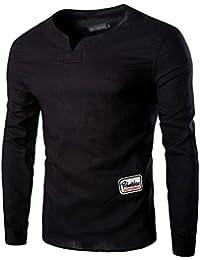 Printemps et automne New Hommes 's coton col de chemise T–Chemise à manches longues Décontracté