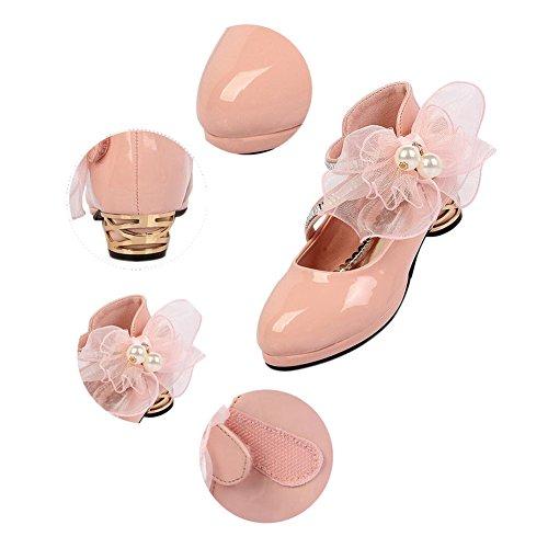 Meijunter Enfants Kids Filles Shallow Mouth Cuir Flower Decoration Heels Princesse Chaussures white