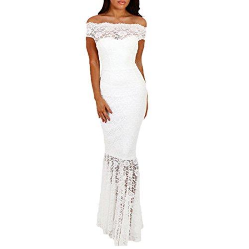 QIYUN.Z Frauen Elegante Spitze Schrägstrich Ansatz Trägerlose Kurze Hülse Fisch-Tailed Saum Maxi Kleid Weiß