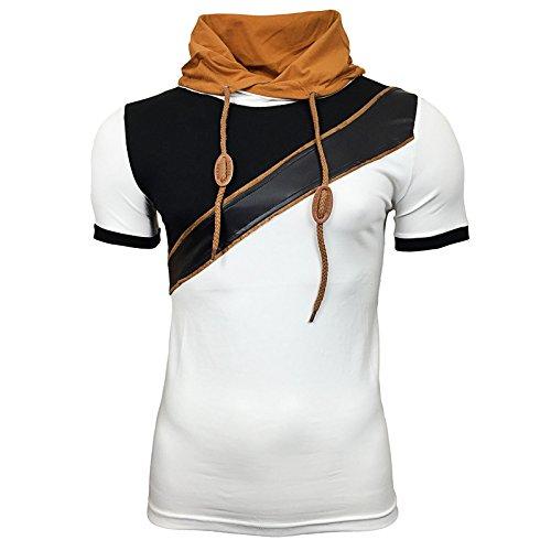 R-NEAL Clubwear Kurzarm Herren Kapuzen Schal T-Shirt Kontrast Shirt RTN-16700 Weiß