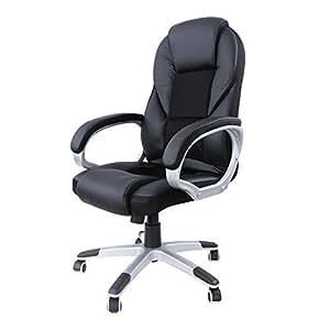 Songmics noir chaise fauteuil de bureau chaise pour - Amazon chaise de bureau ...