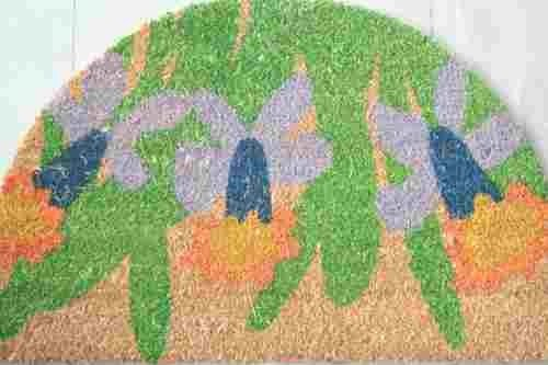 Felpudos Baratos coco media luna flores 40x60 cm