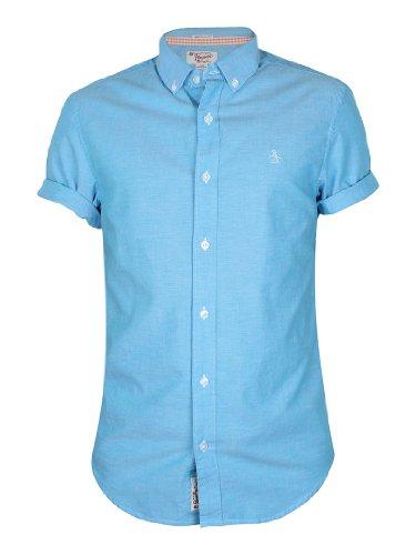 Original Penguin Herren Straight Up Short Sleeve Shirt, Blau Blau
