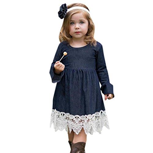Mädchen Kleider Kinder Kleider Longra Mädchen Jeanskleider Langarmkleid mit Spitzen Kleider Festliche Kleider Prinzessin Kleider Kindermode Kinderkleidung (Blue, 110CM 3Jahre)