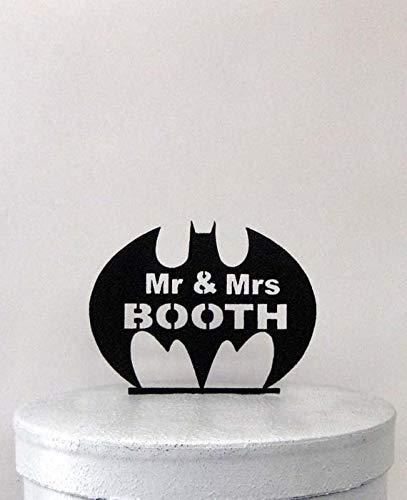 Personalisierte Hochzeitstorte Topper Batman-Symbol mit dem Namen Mr Mrs