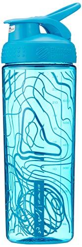 BlenderBottle Signature Sleek Shaker, Eiweiß Shaker , Wasserflasche , Protein Shaker mit Blenderball - Aqua Topt Flow (820ml) (Smoothie Hand Blender)